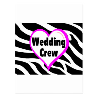 Wedding Crew (Heart Zebra Print) Postcard