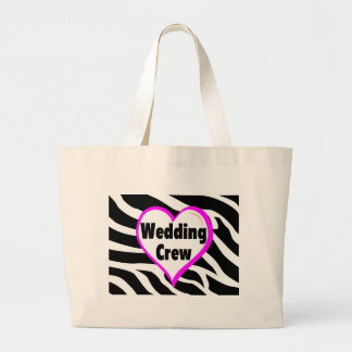 Wedding Crew (Heart Zebra Stripes) Bags