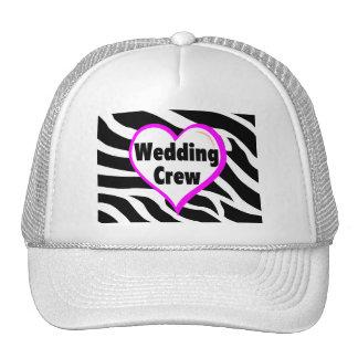 Wedding Crew (Heart Zebra Stripes) Hat