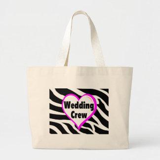 Wedding Crew (Heart Zebra Stripes) Large Tote Bag