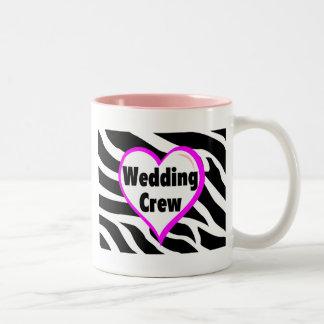 Wedding Crew (Heart Zebra Stripes) Coffee Mugs