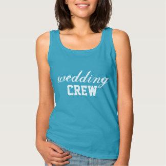 Wedding Crew - White on Blue Tank Top