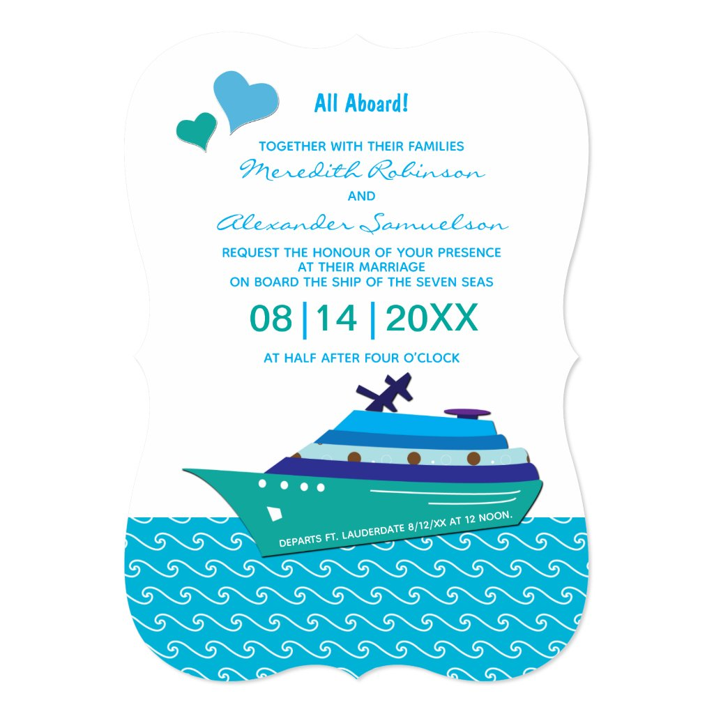 Wedding Cruise Blue Hearts Invitation