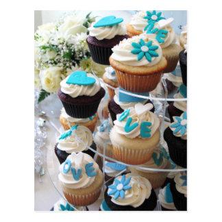 Wedding Cupcakes with Blue Fondant Decorations Postcards