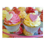 Wedding Cupcakes with Fondant Hearts Postcard