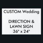 "Wedding Custom Direction &amp; Lawn Sign 36&quot; x 24&quot;<br><div class=""desc"">For the full and expending range of customizable wedding product templates, visit http://www.personalizedweddingessentials.com. Wedding Custom Direction &amp; Lawn Sign 36&quot; x 24&quot;, lightweight corrugated plastic construction (4mm thick), perfect for posting directions at road junctions and for signing the wedding venue. Stick in grass or soil with optional &quot;H&quot; frame. Photos,...</div>"