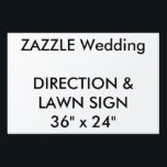 "Wedding Custom Direction &amp; Lawn Sign 36&quot; x 24&quot;<br><div class=""desc"">Custom Direction &amp; Lawn Sign 36&quot; x 24&quot;, lightweight corrugated plastic construction (4mm thick), perfect for posting directions at road junctions and for signing the wedding venue. Stick in grass or soil with optional &quot;H&quot; frame. Photos, designs or text printed in brilliant full color. Weather and stain resistant, your message...</div>"