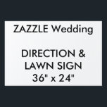 """Wedding Custom Direction &amp; Lawn Sign 36&quot; x 24&quot;<br><div class=""""desc"""">Custom Direction &amp; Lawn Sign 36&quot; x 24&quot;, lightweight corrugated plastic construction (4mm thick), perfect for posting directions at road junctions and for signing the wedding venue. Stick in grass or soil with optional &quot;H&quot; frame. Photos, designs or text printed in brilliant full color. Weather and stain resistant, your message...</div>"""