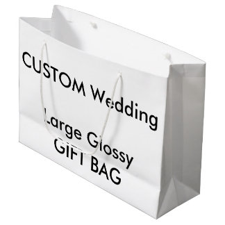 "Wedding Custom Gift Bag GLOSSY LARGE 12.5"" x 9"""