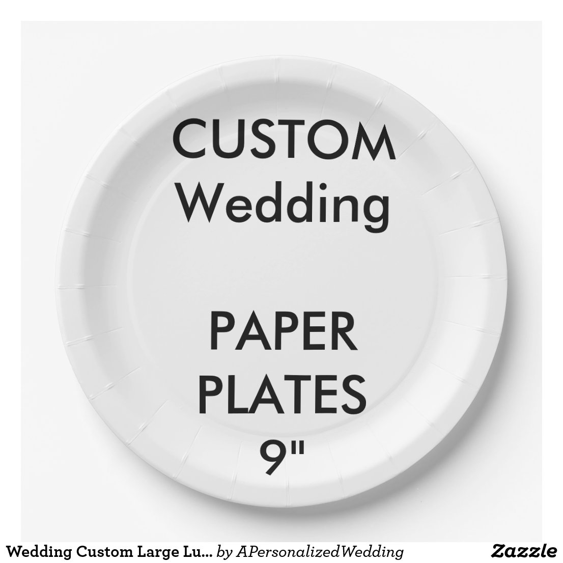 Wedding Custom Large Luncheon Paper Plates 9