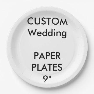 "Wedding Custom Large Luncheon Paper Plates 9"""