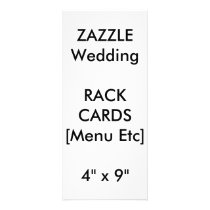 "Wedding Custom Menu & Program Cards 9""x4"" Vertical"
