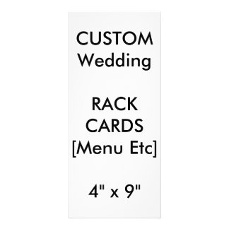 "Wedding Custom Menu & Program Cards 9""x4"" Vertical"
