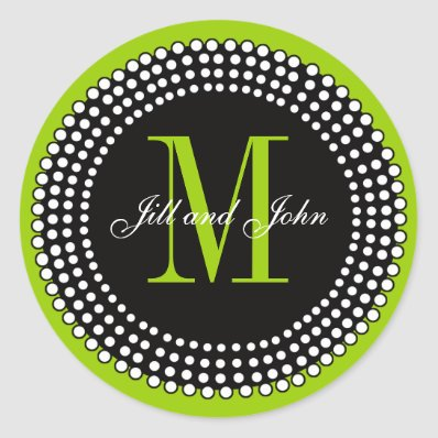 Wedding Custom Monogram & Names Apple Green Label Stickers