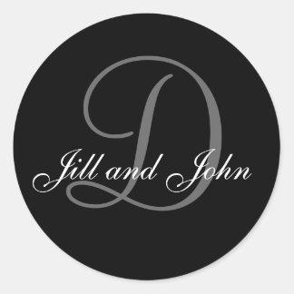 Wedding Custom Monogram & Names Black & Grey Seal Sticker