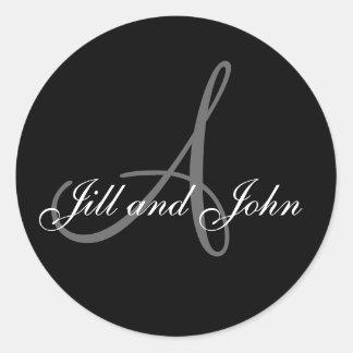 Wedding Custom Monogram & Names Black & Grey Seal Stickers