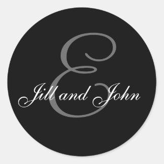 Wedding Custom Monogram & Names Black & Grey Seal Round Stickers