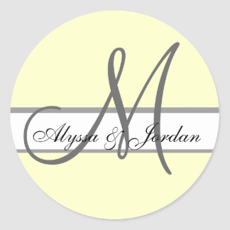 Wedding Custom Monogram & Names Ivory & Grey Seal Round Sticker
