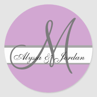 Wedding Custom Monogram & Names Purple & Grey Seal Sticker