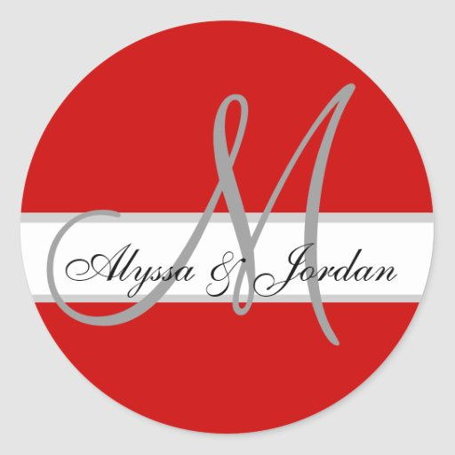 Wedding Custom Monogram & Names Red Seal Round Stickers