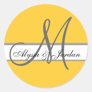 Wedding Custom Monogram & Names Yellow & Grey Seal Sticker