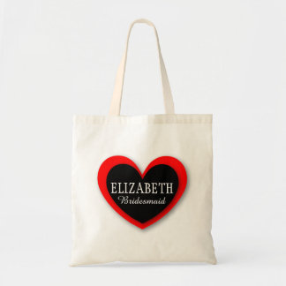 WEDDING Custom Name and Role RED and BLACK V02 Tote Bag