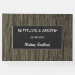 [ Thumbnail: Wedding — Custom Names — Rustic Wood Look Pattern Guest Book ]