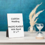 "Wedding Custom Photo Plaque 5&quot; x 7&quot;<br><div class=""desc"">For the full and expending range of customizable wedding product templates, visit http://www.personalizedweddingessentials.com. Wedding Custom Photo Plaque 5&quot; x 7&quot;, with attached easel stand. Horizontal or vertical printing. Dye-sublimation print process - colors are put directly on the hardboard panel for a stunningly crisp image. Easy wipe clean UV resistant gloss...</div>"
