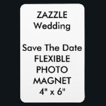 """Wedding Custom Save The Date Photo Fridge Magnet<br><div class=""""desc"""">Wedding Custom Save The Date Photo Magnet, Flexible Refrigerator (Fridge) Magnet, 4&quot; x 6&quot;. Horizontal or vertical design, perfect for refrigerators or any magnetic surface (also sticks to curved surfaces), vinyl laminated for photos, images, text, or designs, high quality vibrantly printed in full color, stain and water resistant. CUSTOM WEDDING...</div>"""