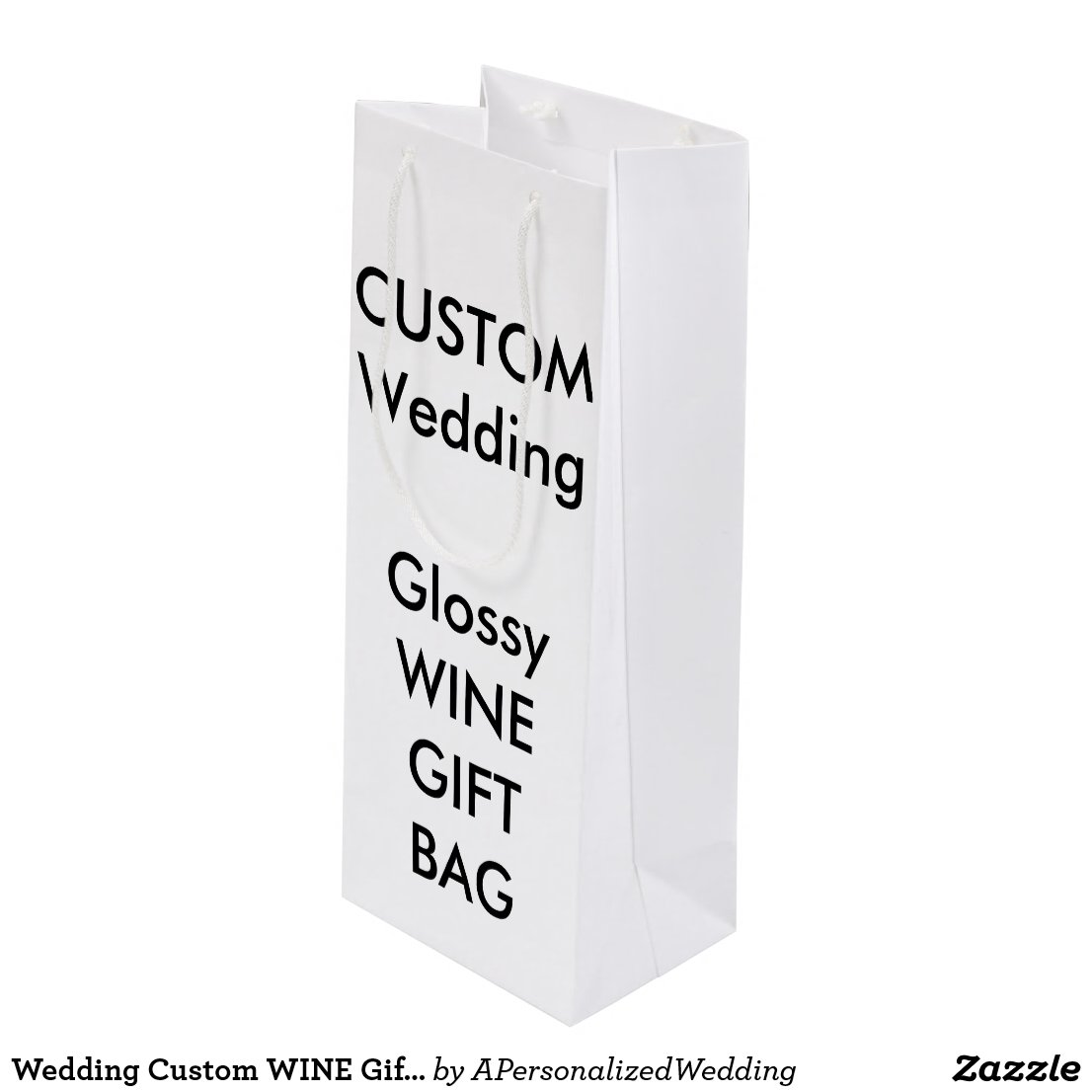 Wedding Custom WINE Gift Bag GLOSSY 4.75