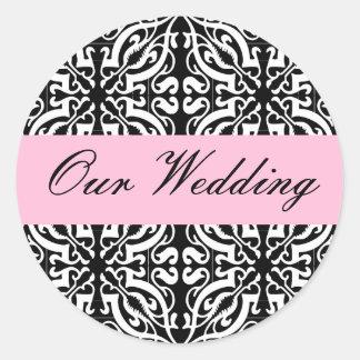 Wedding - Customizable (Black & White Damask) Classic Round Sticker
