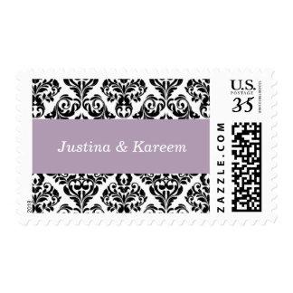 Wedding Customized Damask Style Pastel Purple Stamps
