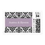 Wedding Customized Damask Style Pastel Purple Postage