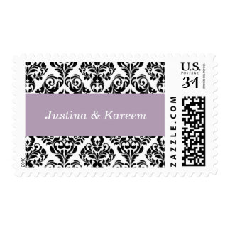 Wedding Customized Damask Style Pastel Purple Postage