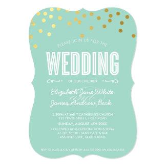 WEDDING cute gold foil confetti bold pastel mint 5x7 Paper Invitation Card