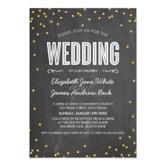 WEDDING cute gold glitter confetti chalkboard gray Personalized Announcements