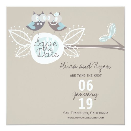 """Wedding Cute Owls On Branch Photo Save The Date 5.25"""" Square Invitation Card"""