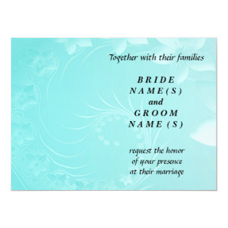 Wedding - Cyan Abstract Flowers 6.5x8.75 Paper Invitation Card