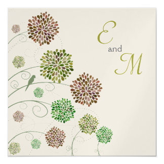 Wedding Dahlia Garden Gold Personalized Invitation