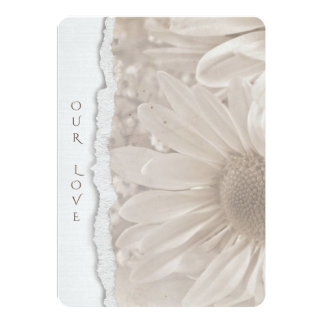 wedding daisy in sepia with torn paper edge card