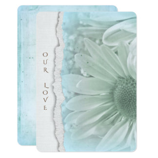 wedding daisy in soft aqua with torn paper edge card