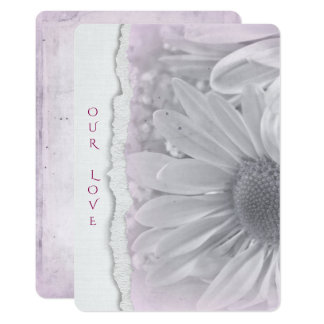 wedding daisy in soft pink with torn paper edge card