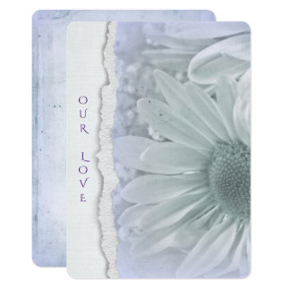 wedding daisy in soft purple with torn paper edge card