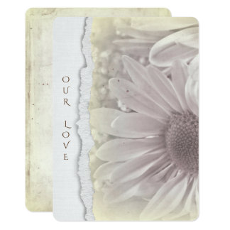 wedding daisy in soft  yellow with torn paper edge card