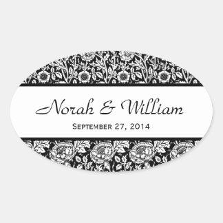 Wedding Damask Black and White Floral Damask Oval Sticker