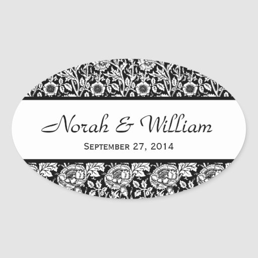 Wedding Damask Black and White Floral Damask Oval Stickers