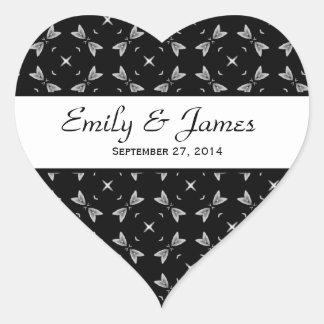 Wedding Damask Black and White Stars Heart Sticker