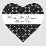 Wedding Damask Black and White Stars Heart Stickers