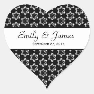 Wedding Damask Black and White Stars Y191 Heart Sticker