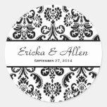Wedding Damask Black and White V01 Classic Round Sticker